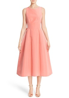 Carolina Herrera Back Bow Tie Silk Faille Midi Dress