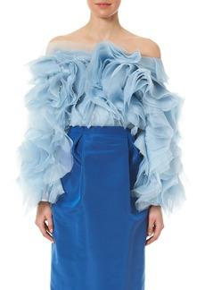 Carolina Herrera Bead Embellished Ruffle Off the Shoulder Blouse