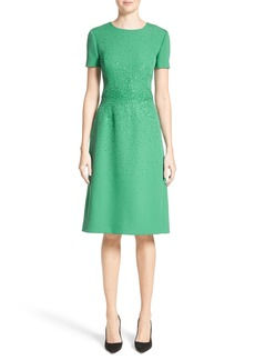 Carolina Herrera Beaded Stretch Wool Dress