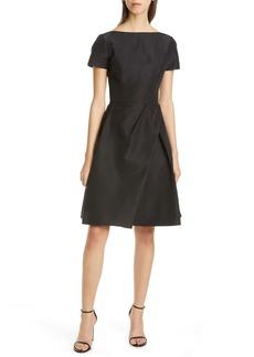 Carolina Herrera Beatuea Neck Silk A-Line Dress