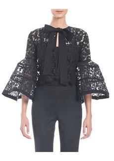 Carolina Herrera Bell-Sleeve Lace Jacket with Bow