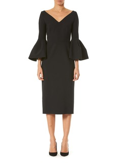 Carolina Herrera Bell Sleeve Stretch Wool Dress