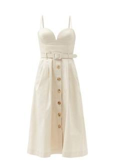 Carolina Herrera Belted cotton-blend twill midi dress