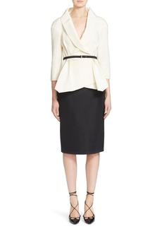 Carolina Herrera Belted Silk Wrap Blouse