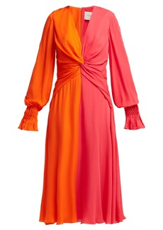 Carolina Herrera Bi-colour knotted silk dress