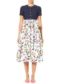 Carolina Herrera Bird-Print Short-Sleeve Solid Top and Full Skirt Dress