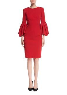Carolina Herrera Bonded Crepe Peplum-Sleeve Dress