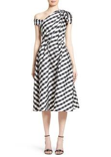 Carolina Herrera Bow Detail One-Shoulder Gingham Dress