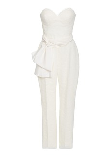 Carolina Herrera Bridal Lourdes Strapless Chantilly Lace Jumpsuit