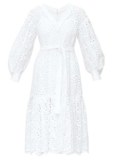 Carolina Herrera Broderie-anglais tiered poplin dress