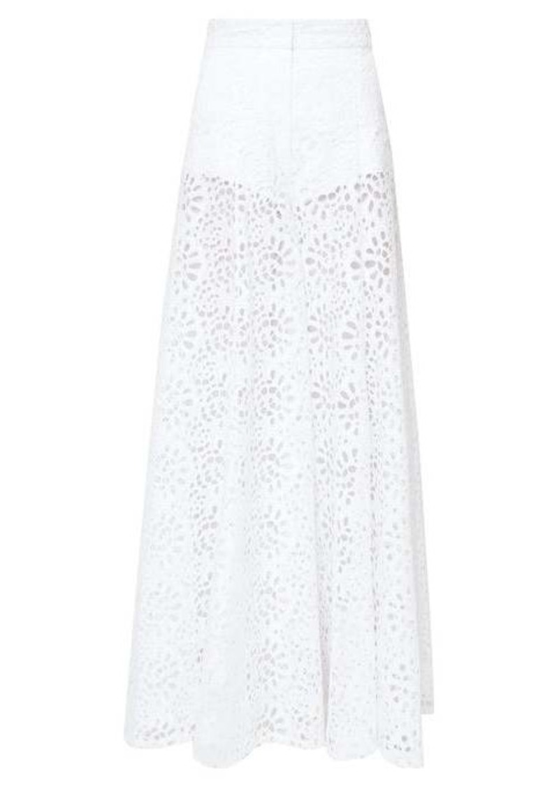 Carolina Herrera Broderie-anglaise cotton palazzo trousers