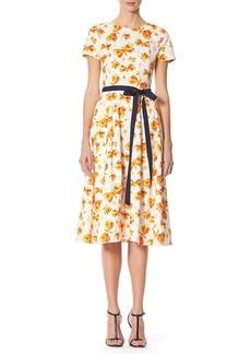 Carolina Herrera Butterfly-Print Midi Dress with Belt