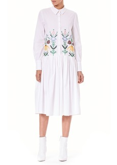 Carolina Herrera Button-Down Long-Sleeve Embroidered Midi Poplin Shirtdress