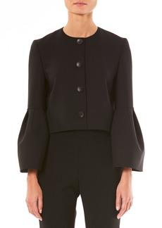 Carolina Herrera Button-Front Bell-Sleeve Cropped Wool-Blend Jacket