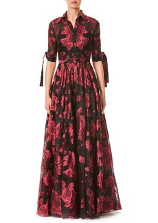 Carolina Herrera Button-Front Floral-Printed Dress w/ Tie-Sleeves