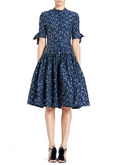 Carolina Herrera Button-Front Short-Sleeve Cocktail Shirtdress