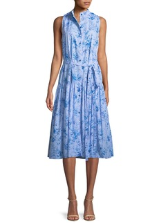 Carolina Herrera Button-Front Sleeveless Floral-Print Poplin Midi Dress