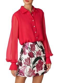 Carolina Herrera Button-Up Silk Chiffon Blouse