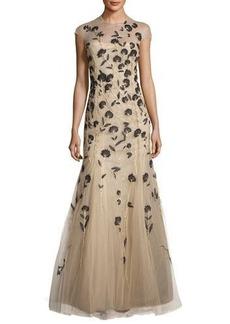 Carolina Herrera Carnation-Embroidered Tulle Mermaid Gown