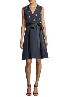 Carolina Herrera Cherry Embroidered V-Neck Fit-and-Flare Cocktail Dress