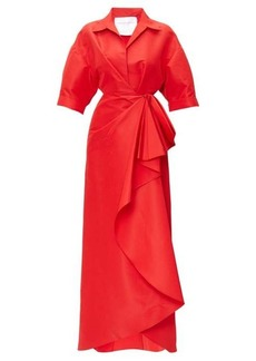 Carolina Herrera Collared draped faille gown
