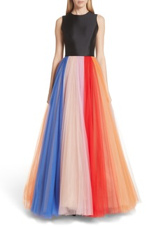 Carolina Herrera Colorblock Tulle Gown