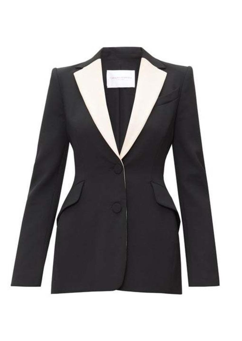 Carolina Herrera Contrast-lapel single-breasted wool-blend jacket