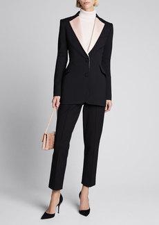Carolina Herrera Contrast-Lapel Wool Blazer Jacket