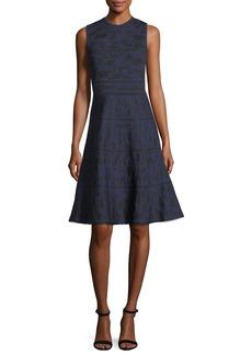 Carolina Herrera Crewneck Sleeveless Knit Jacquard Cocktail Dress