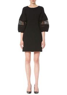 Carolina Herrera Crochet-Inset 3/4-Sleeve Shift Dress