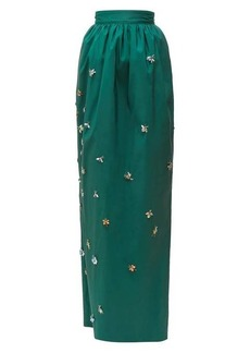 Carolina Herrera Crystal-embellished silk-faille maxi skirt