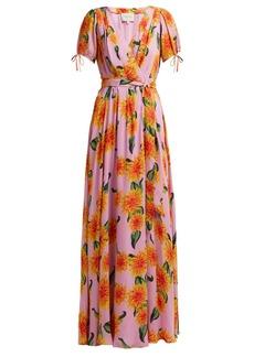 Carolina Herrera Dahlia-print silk gown