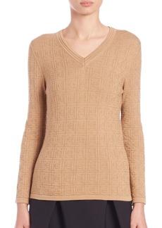 Carolina Herrera Day Collection Cashmere/Silk Logo Sweater