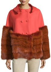 Carolina Herrera Double-Breasted Jacket W/Fur Trim