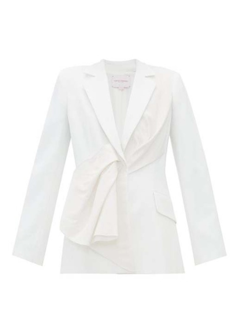 Carolina Herrera Draped silk-taffeta and twill jacket
