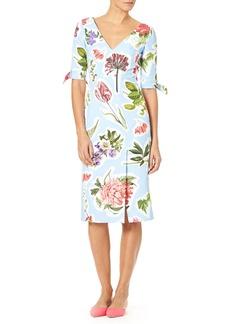 Carolina Herrera Elbow-Sleeve Floral Collage-Print Cotton Faille Sheath Dress
