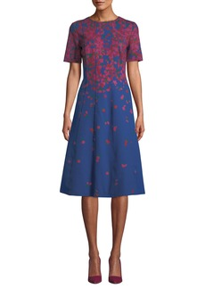 Carolina Herrera Elbow-Sleeve Jewel-Neck A-Line Floral-Print Neoprene Dress