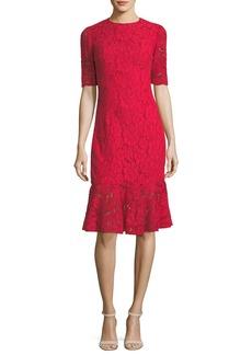 Carolina Herrera Elbow-Sleeve Lace Flared-Hem Cocktail Dress