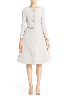 Carolina Herrera Embellished Belted Silk Faille A-Line Dress