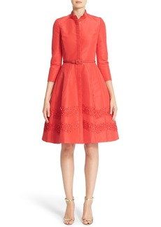 Carolina Herrera Embellished Belted Silk Faille A-Line Shirtdress