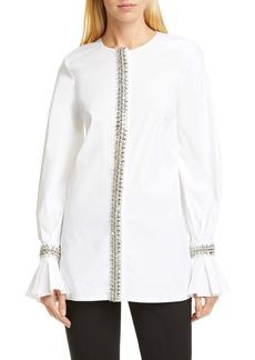 Carolina Herrera Embellished Puff Sleeve Tunic Top