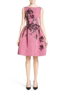 Carolina Herrera Embellished Silk Faille Dress