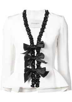 Carolina Herrera embellished trim blazer - White