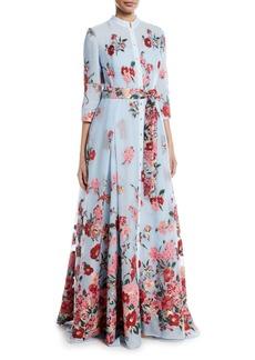 Carolina Herrera Embroidered 3/4-Sleeve Shirtwaist Gown