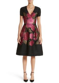 Carolina Herrera Embroidered Brocade Fit & Flare Dress
