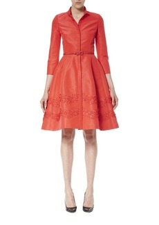 Carolina Herrera Embroidered Faille Dress