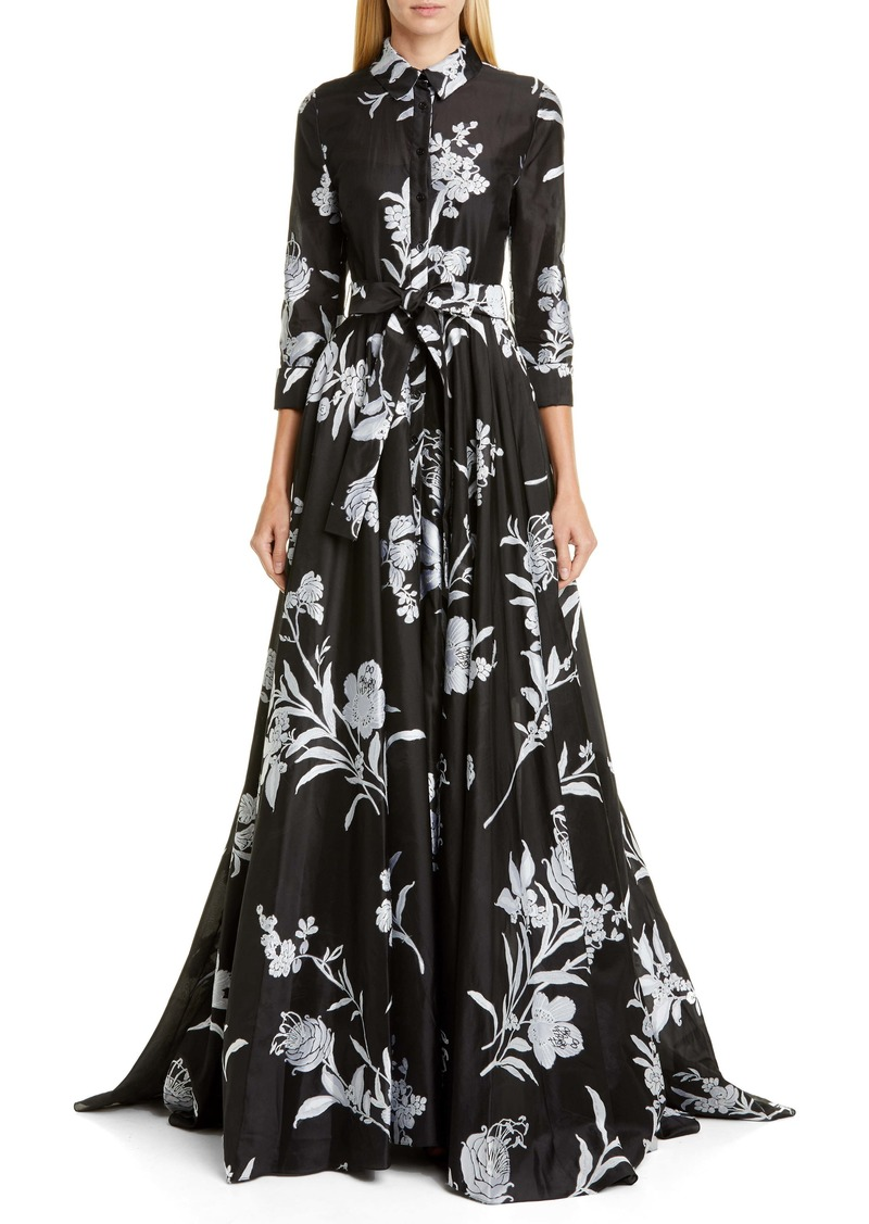 Carolina Herrera Embroidered Floral Belted Trench Gown