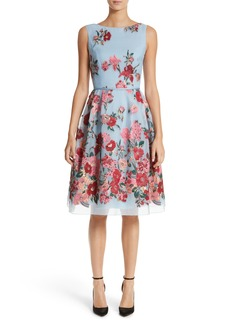 Carolina Herrera Embroidered Floral Fit & Flare Dress