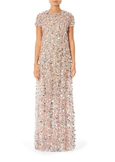 Carolina Herrera Embroidered Short-Sleeve Gown