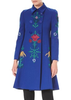 Carolina Herrera Embroidered Wool Double-Breasted Coat